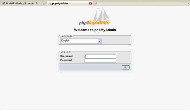 Login interface of PHPMyAdmin