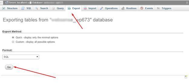 Download databse through PHPMyAdmin