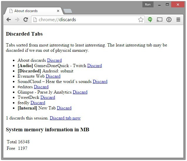 Google chrome tabs discards